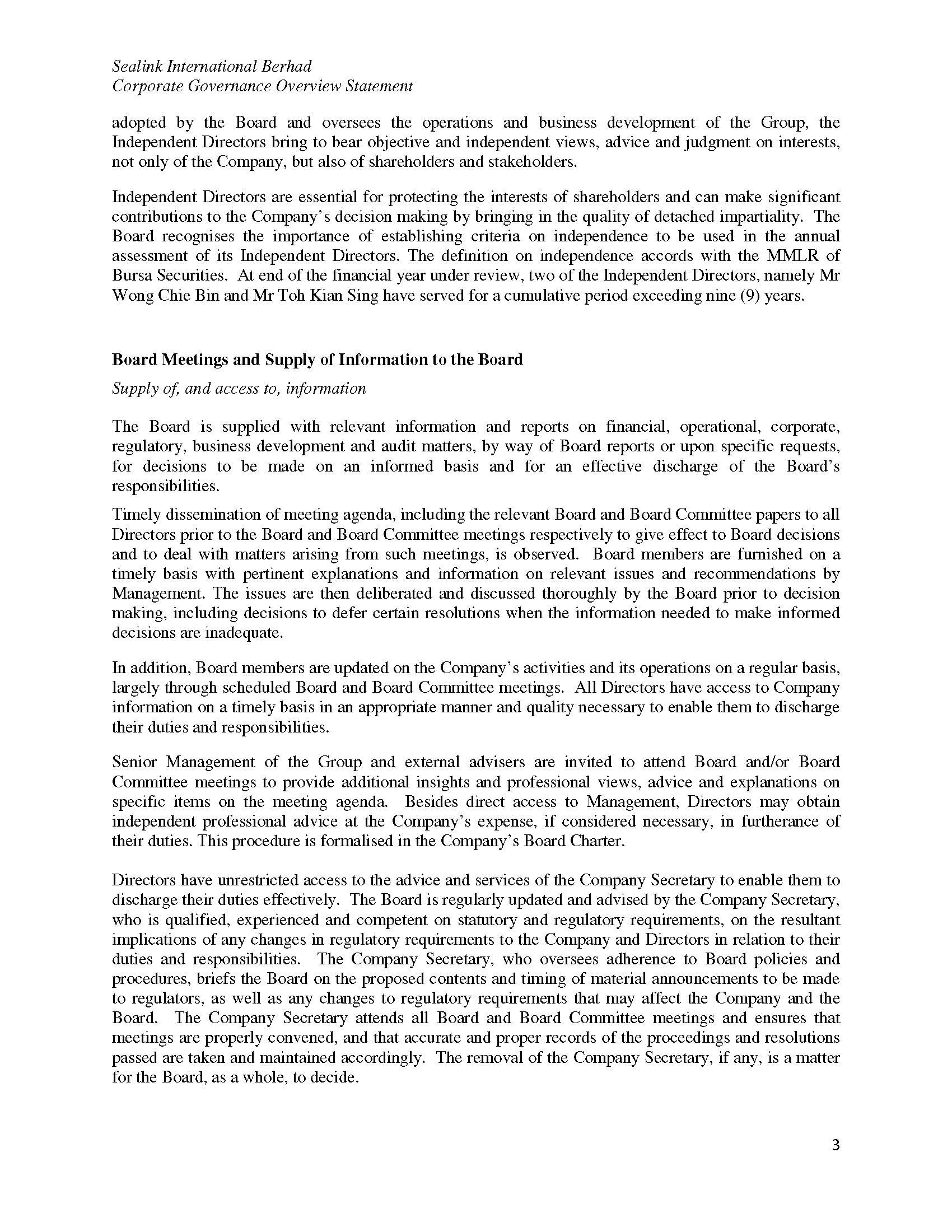 Corporate Governance of Sealink International Berhad